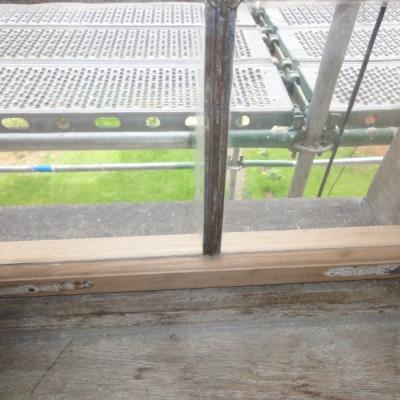 Flügelholz unten erneuert - Ansicht innen