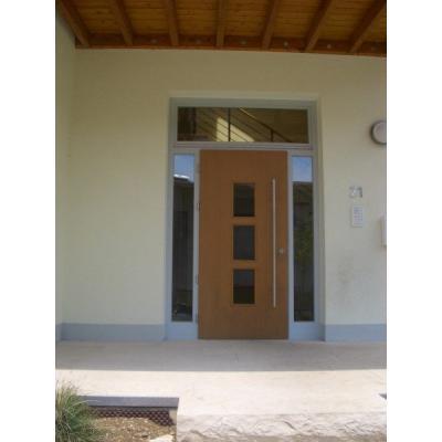 Haustüre mit Oberlicht und Seitenteil. Türflügel mit 3 St. Lichtausschnitte